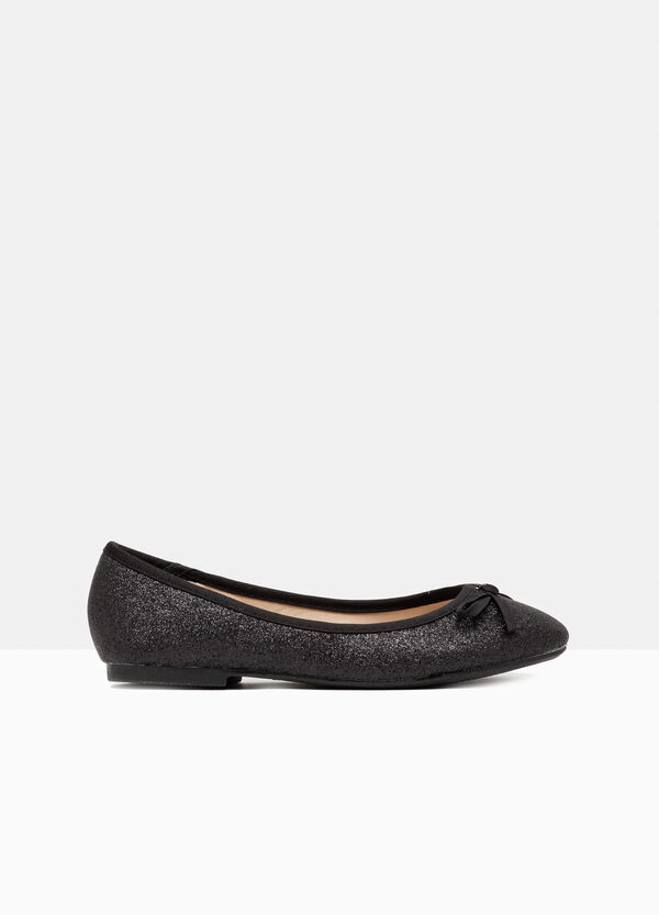 Glitter ballerina pumps with bow | OVS