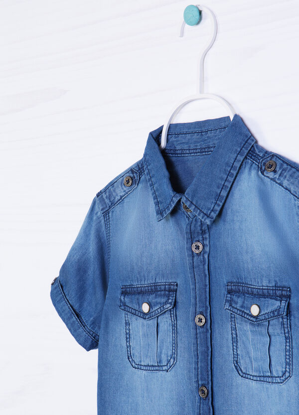 Faded denim shirt with pockets | OVS