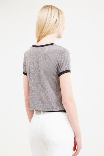Crop T-shirt with Mickey Mouse print, Grey Marl, hi-res