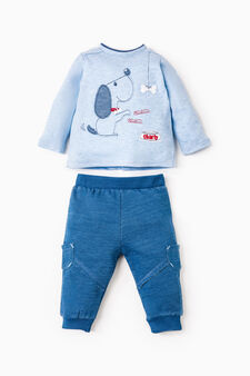 Outfit with animal patch and embroidery, Light Blue, hi-res