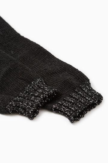 Guanti lunghi tricot con costina, Nero, hi-res