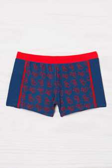 Stretch printed swim boxer shorts, Blue/Red, hi-res