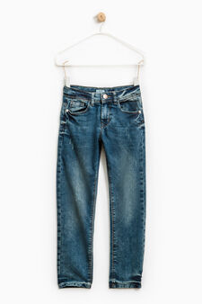 Worn-effect stretch jeans, Dark Blue, hi-res