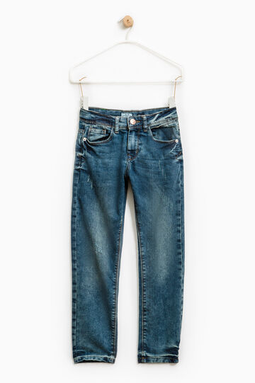 Worn-effect stretch jeans, Dark Blue, hi-res