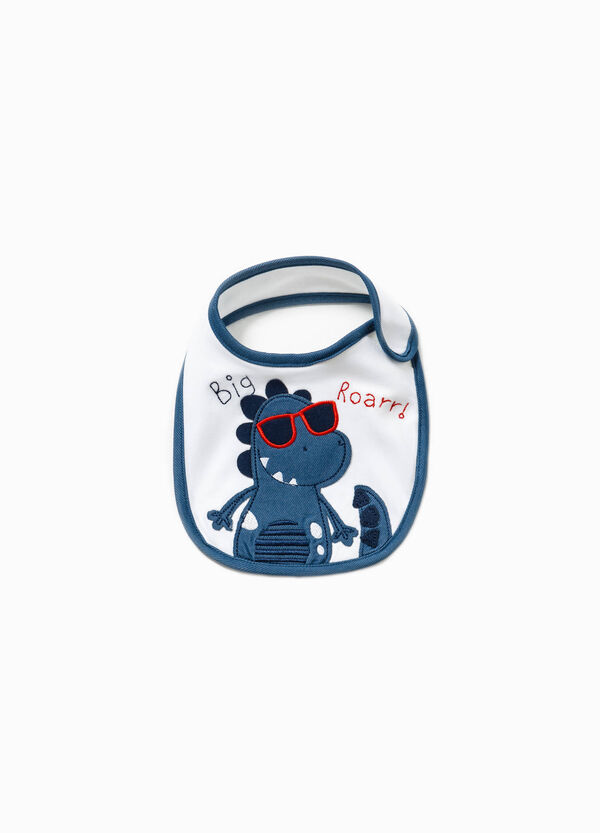 Bib with embroidery and dinosaur patch | OVS