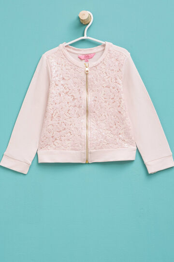 Sweatshirt in cotton lace and sequins, Pink, hi-res