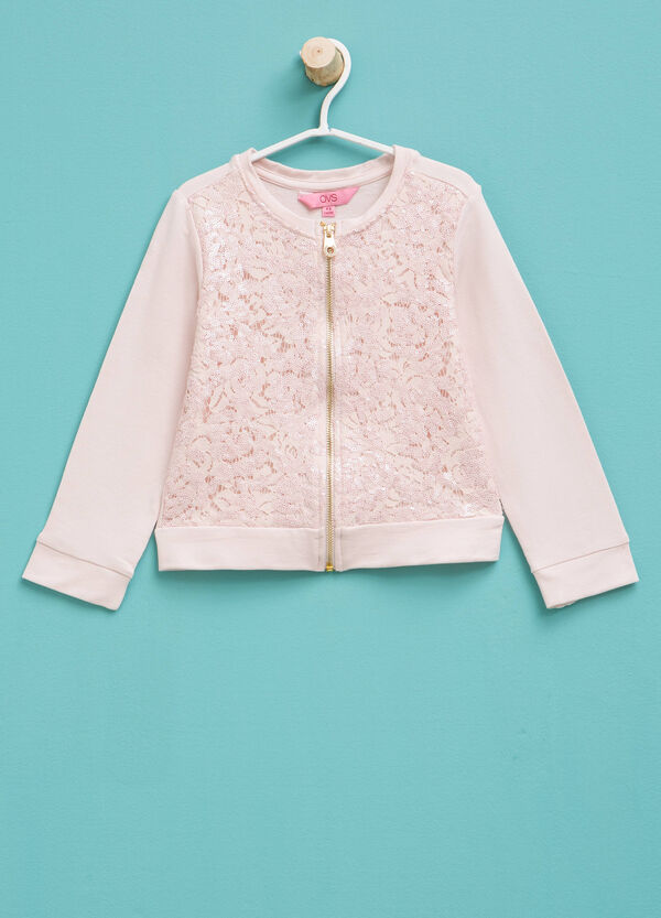 Sweatshirt in cotton lace and sequins | OVS