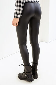 Glossy stretch leggings, Black, hi-res
