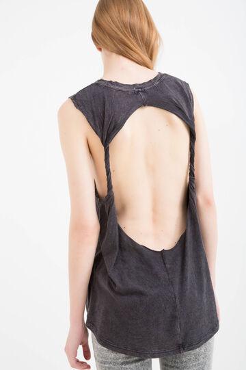 Mis-dyed effect 100% cotton top, Black, hi-res