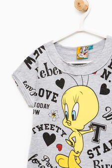 Stretch cotton T-shirt with Tweetie Pie pattern, Grey Marl, hi-res