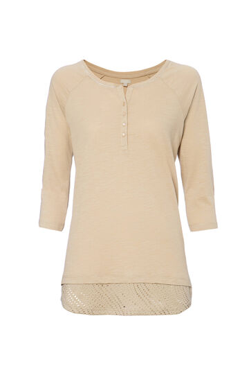 Smart Basic T-shirt in 100% cotton, Khaki, hi-res