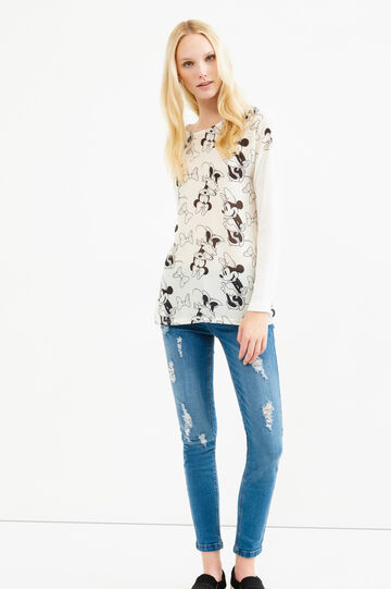 Viscose T-shirt with maxi Tinkerbell print, Beige, hi-res