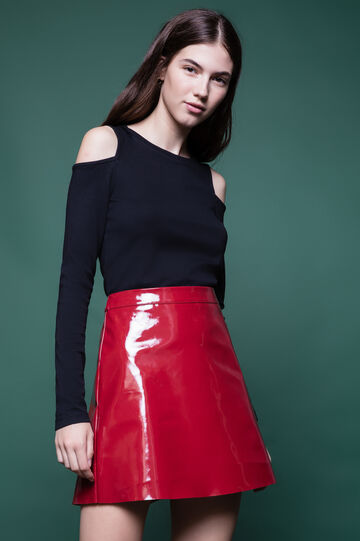 High-waist patent skirt with zip on the back, Red, hi-res