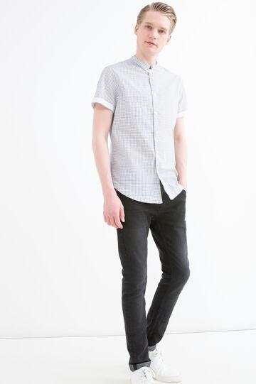 Camicia slim fit puro cotone, Bianco/Blu, hi-res
