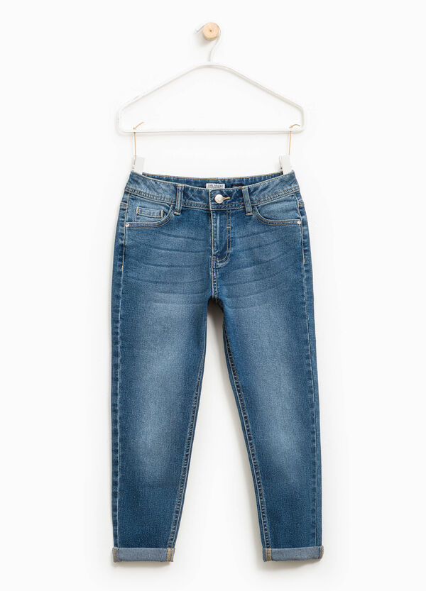 Used-effect stretch jeans with turn-ups | OVS