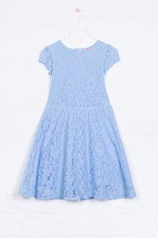 Solid colour lace dress, Azure, hi-res