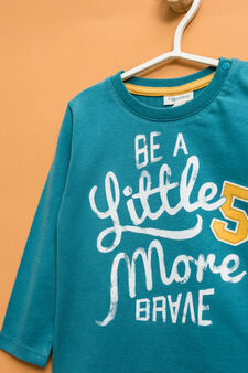 Lettering print cotton T-shirt, Teal Green, hi-res