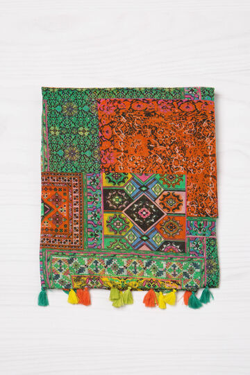 Ethnic pattern scarf with tassels, Multicolour, hi-res