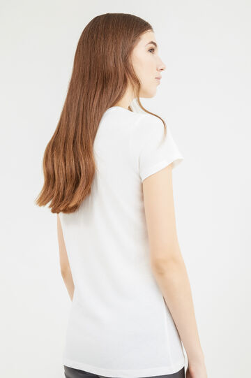 Printed cotton blend T-shirt, Milky White, hi-res