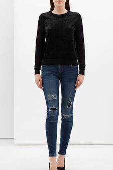 Pullover with chenille appliqué details, Black, hi-res
