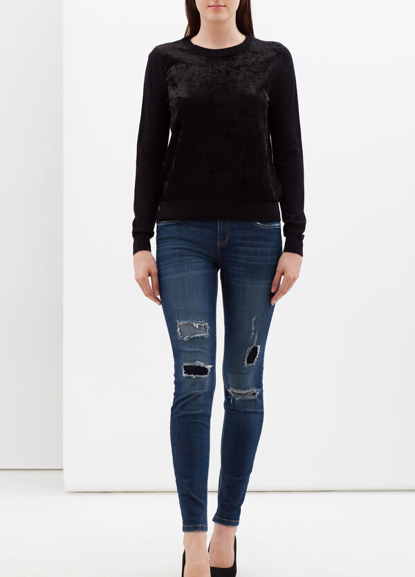 Pullover with chenille appliqué details | OVS