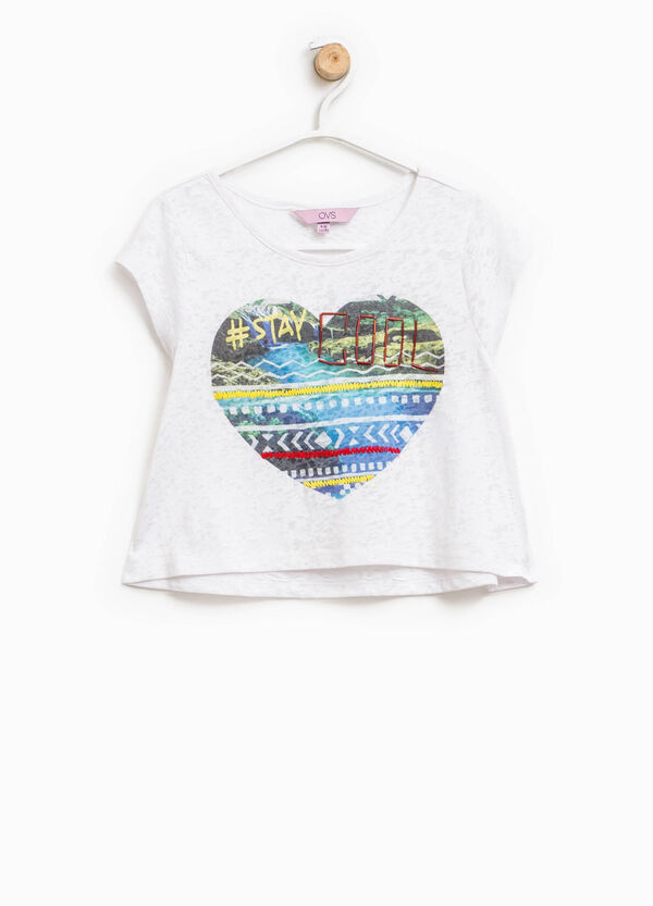 Mélange T-shirt with embroidery and beads | OVS