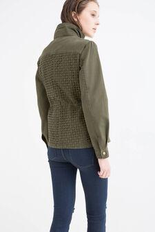 Solid colour 100% cotton jacket, Green, hi-res