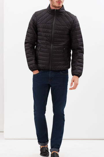 Quilted puffa jacket with high neck, Black, hi-res