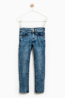 Jeans skinny fit stretch effetto used, Nero, hi-res