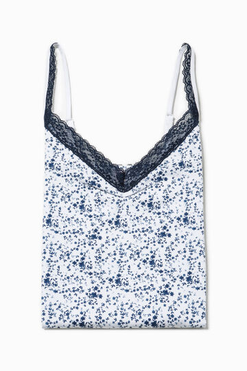Vest top with lace and floral print, White/Blue, hi-res