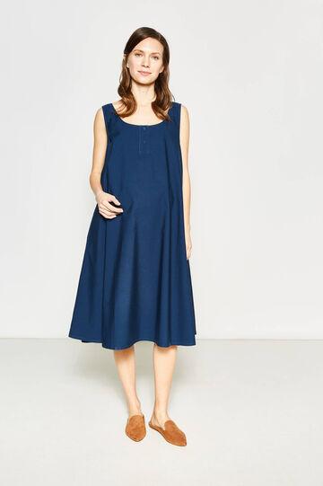 Sleeveless 100% cotton MUM dress, Blue, hi-res