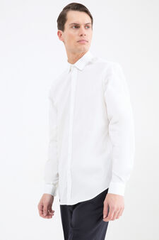 Custom-fit stretch cotton shirt, White, hi-res