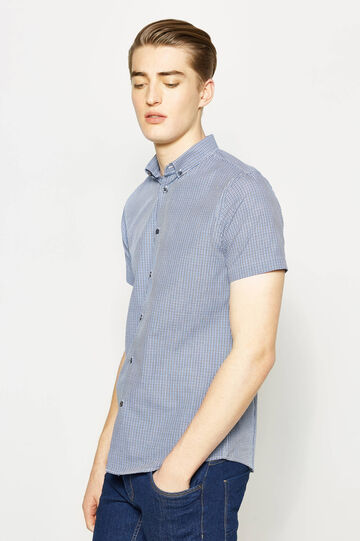 Slim-fit micro-check casual shirt