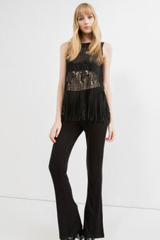 Solid colour crop top with embroidery and inserts, Black, hi-res