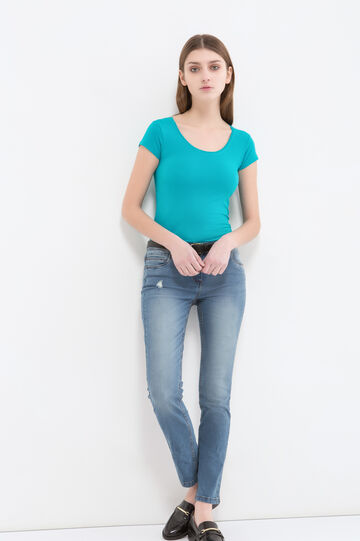 T-shirt in stretch cotton., Turquoise Blue, hi-res