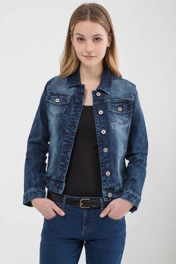 Denim jacket with faded effect, Dark Blue, hi-res