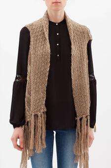 Gilet in maglia con frange, Cammello, hi-res