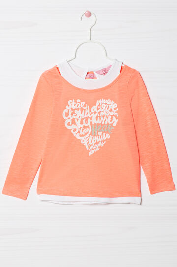 Stretch cotton overlay top , Neon Orange, hi-res