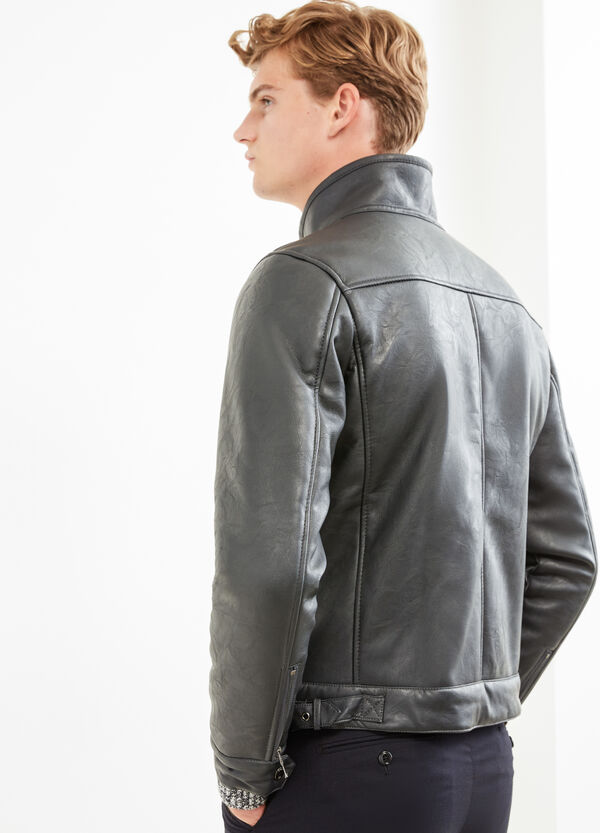 Solid colour leather look jacket. | OVS