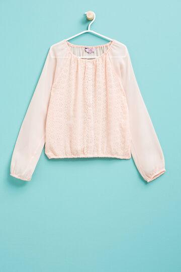 Blusa con diseño calado, Rosa, hi-res