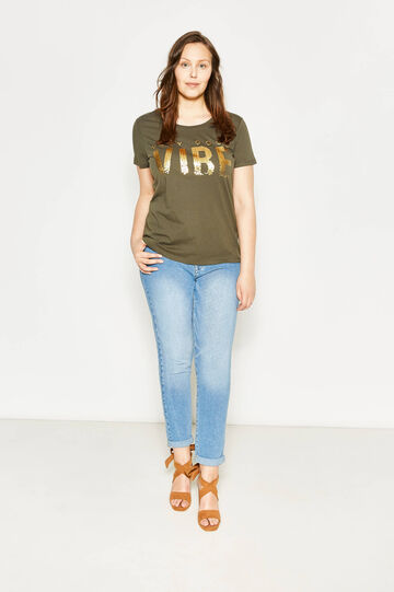 Curvy T-shirt with print and sequins