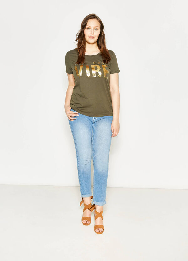 T-shirt con stampa e paillettes Curvy | OVS