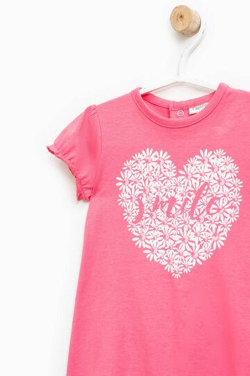 Printed cotton sleepsuit, Coral Pink, hi-res