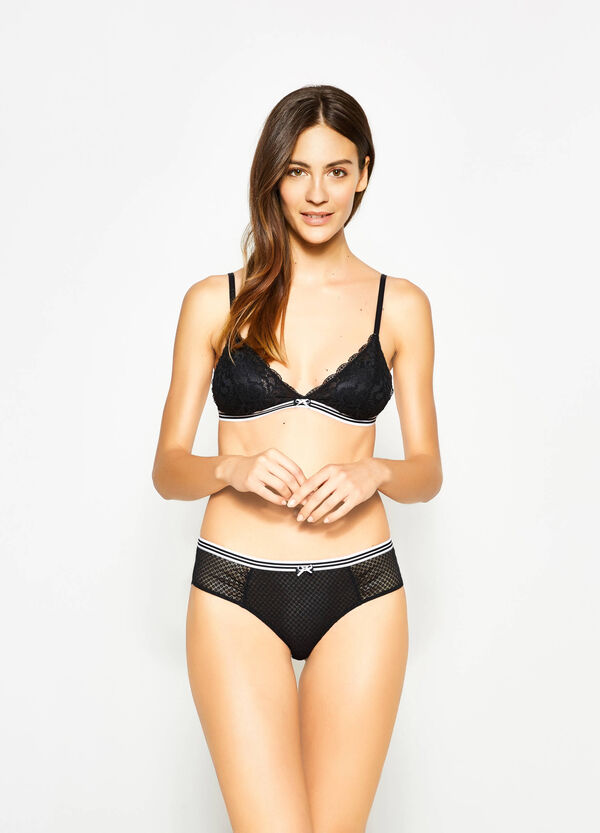 Lace French knickers with waistband in contrasting colour. | OVS