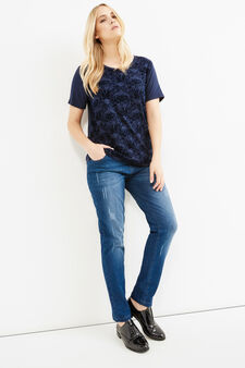 Curvy printed T-shirt in stretch viscose, Blue, hi-res