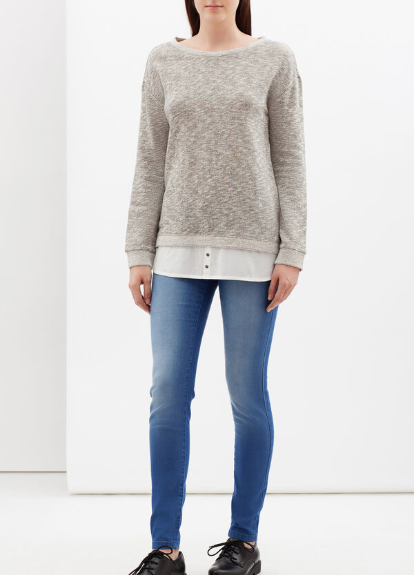 Mélange sweatshirt with faux layered effect | OVS