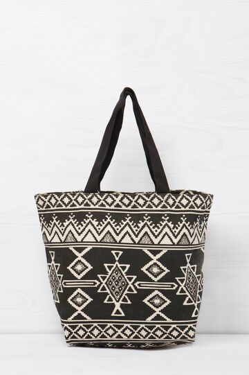Cotton shopping bag with ethnic print, Black/White, hi-res