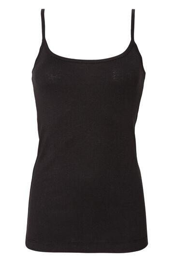 Solid colour 100% cotton top, Black, hi-res