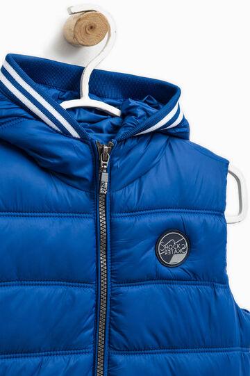 Padded waistcoat with hood, Royal Blue, hi-res