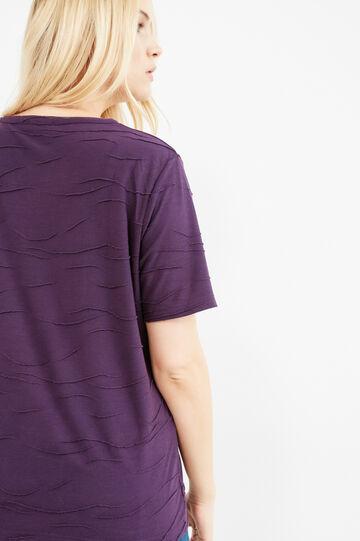 Curvy viscose T-shirt with rhinestones, Purple, hi-res